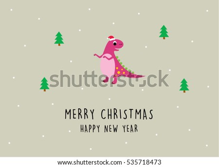 cute dinosaur merry christmas and happy new year greeting card