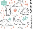 cute dinosaurs and tropic...