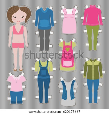 large paper doll template - cute dress paper doll body template stock vector 96072626 shutterstock