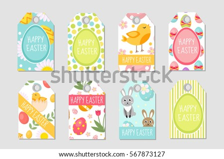 Set easter gift tags labels cute stock vector 577279081 shutterstock cute easter tags set labels collection with easter rabbit eggs and flowers spring negle Image collections