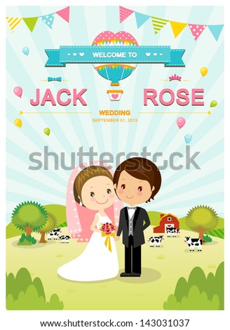 cute wedding invitation card template vectorillustration stock, wedding cards