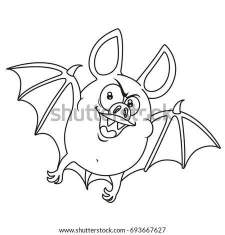 cute fat halloween bat flying outlined for coloring page - Cute Halloween Bat Coloring Pages