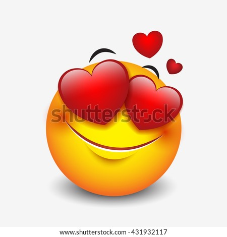 Cute feeling in love emoticon isolated on white background - emoji, smiley - vector illustration