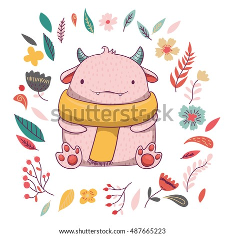 Run Vector Card Template Running Monster Stock Vector