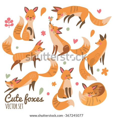 Cute foxes vector set. Eight awesome foxes sitting, jumping, playing, standing, smiling and sleeping. Lovely animal collection for sweet designs