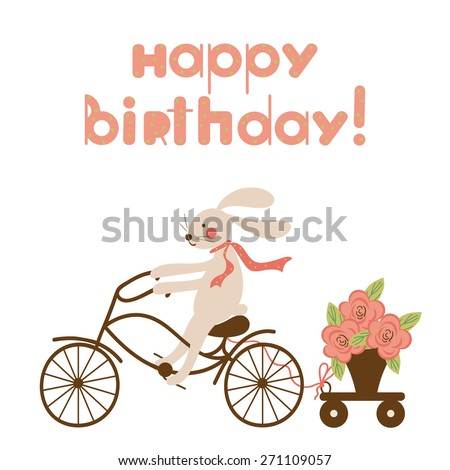 Cute funny rabbit on a bicycle and a pot of flowers on the trolley. Cartoon Happy Birthday card design, can be used as greeting card