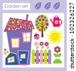cute garden set. vector illustration - stock vector