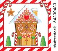 Cute Gingerbread House with gumdrop trees and candy cane frame. - stock vector
