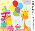Cute Giraffe in a birthday party celebrating with gifts, balloon, cake - design element, vector illustration - stock vector