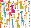 cute giraffe seamless - stock vector