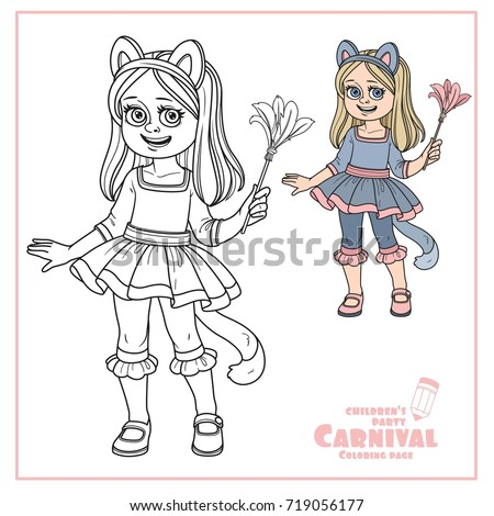 Cute Girl In Cat Costume Color And Outlined For Coloring Page