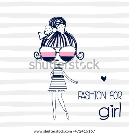 cute girl on striped background, fashion for girl, T-shirt design for girls vector illustration