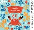 cute greeting card with funny crab - stock vector