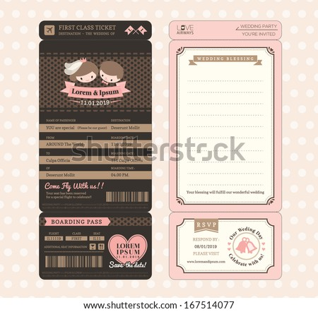 Passport Wedding Invitation Card Design Template Vector – Create a Ticket Template