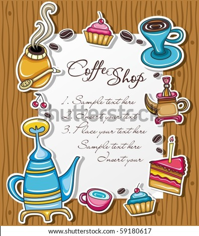 Cute grunge frame with coffee, tea, cake, yerba mate symbols, isolated on wooden background.