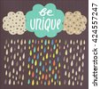 Cute hand drawn doodle be unique card, postcard, cover with clouds, rain drops, text space and grunge texture. Be unique concept background.  - stock photo