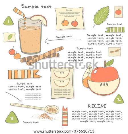 Seamless pattern fruits juice on text stock vector for Cocktail recipes with ingredients on hand
