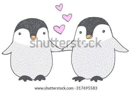Cartoon penguins holding hands - photo#42