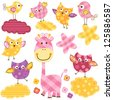 cute happy birds & giraffe set for baby girl star - stock vector