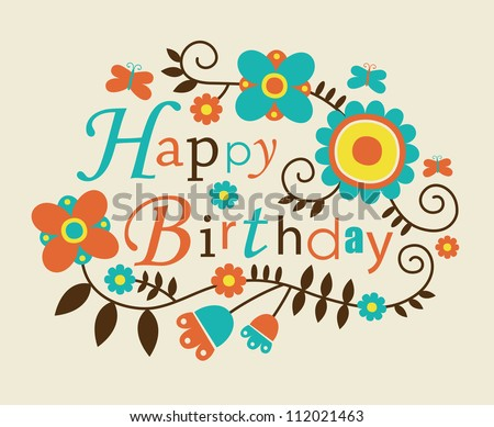 Cute Happy Birthday Card Vector Illustration Vector 96181526 – Cool Happy Birthday Cards