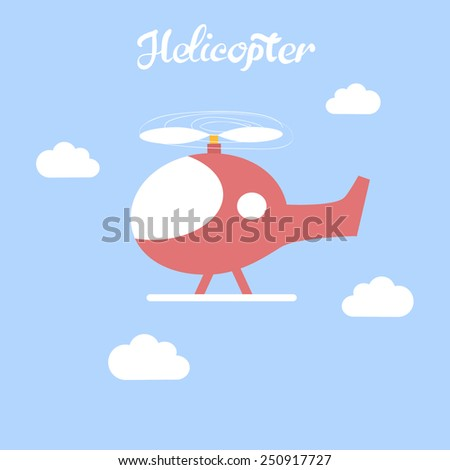 Cute helicopter in the sky. Children's toy. Icon red helicopter.