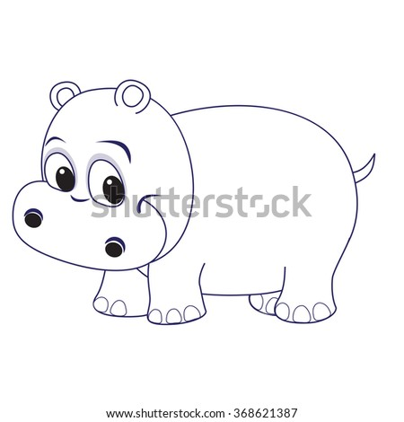 Cute Hippo Baby Coloring Page