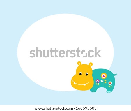 cute hippo message tag