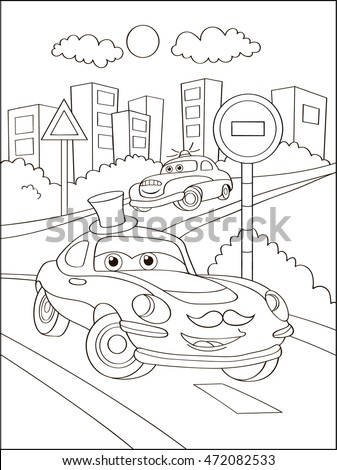 cute hipster car in city coloring page coloring book outdoor sport theme funny - Hipster Coloring Book