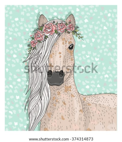 cute horse with flowers fairytale background