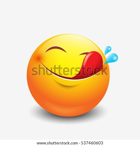 Cute hungry emoticon, emoji, smiley  - vector illustration