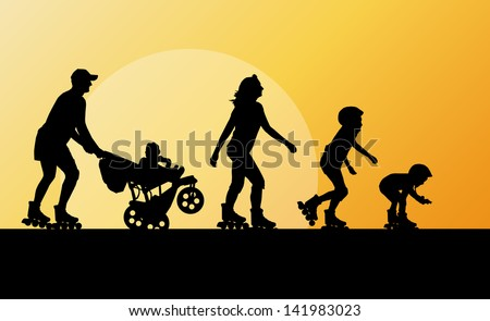 Cute kids, mother, father with cart in roller skates vector background family concept