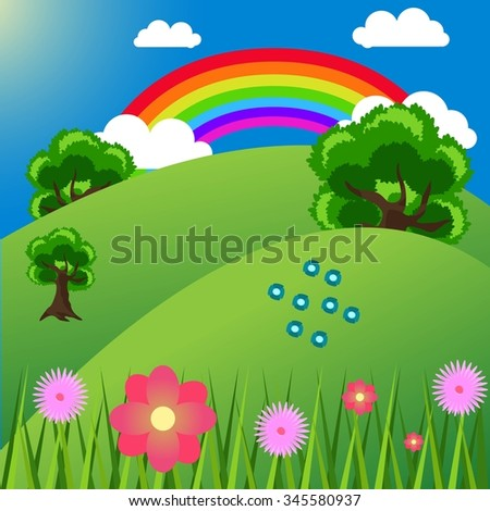 cute landscape with large trees and the rainbow