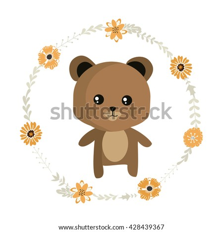 Cute little bear and floral wreath with tender decorative flowers and leaves.Vector illustration.