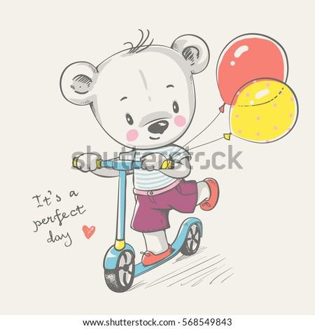 cute little bear driving car cartoon stock vector 542640259