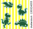 Cute Little Cartoon Dinosaurs on a Yellow Striped Background - stock vector
