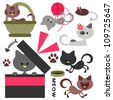 Cute little kittens set - stock vector