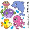 Cute marine animals collection - vector illustration. - stock vector
