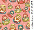 Cute matryoshka seamless pattern - stock vector