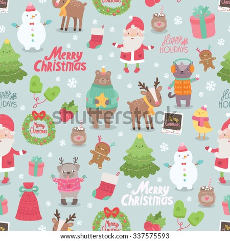 Cute Merry Christmas and Happy New Year seamless pattern - Santa Claus, bird, ginger cookie, snowman, deer, pug, cat, bear, tree, gift, mittens, sock. Adorable design illustrative elements