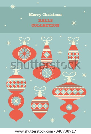 cute merry christmas balls set. vector illustration