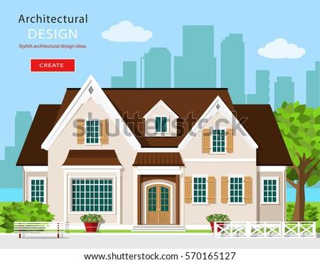 Nice neighborhood suburbs stock vector 18797248 shutterstock for Modern house clipart
