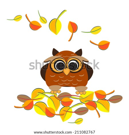 Cute owl and the leaf fall. Concept autumn romantic illustration. Cartoon owl. Vector. On white place for text.