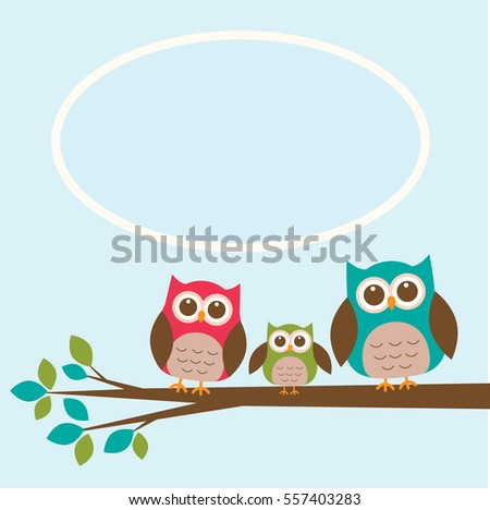 Cute owl family on branch with place for text. Vector illustration