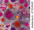 Cute owl seamless background pattern in vector - stock vector