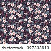 Cute pattern in small flower. Small white flowers.  Black background. Seamless floral pattern. - stock vector