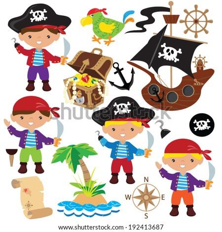 Vector Illustration Children Pirates Stock Vector ...