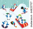 Cute Playful Penguin Village Snow Scene - stock vector