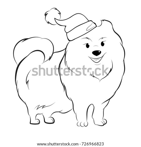 Cute Pomeranian Santa Coloring Page 2018 Stock Vector 726966949
