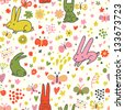 Cute rabbits and butterflies in vector. Nice childish background. Seamless pattern can be used for wallpapers, pattern fills, web page backgrounds, surface textures. - stock vector