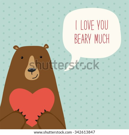 Cute Retro Hand Drawn Valentines Day Vector 342613847 – Bear Valentines Card